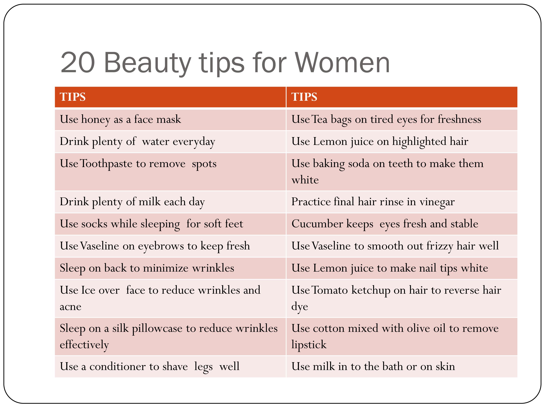 Beauty tips for beautiful women  HEALTH FOOD TIPS